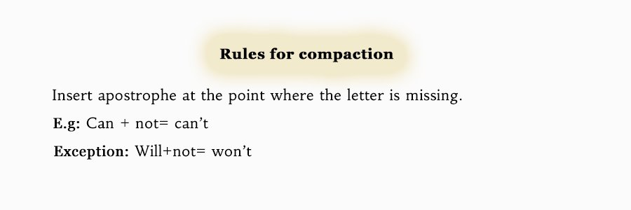 Apostrophe rules for compaction